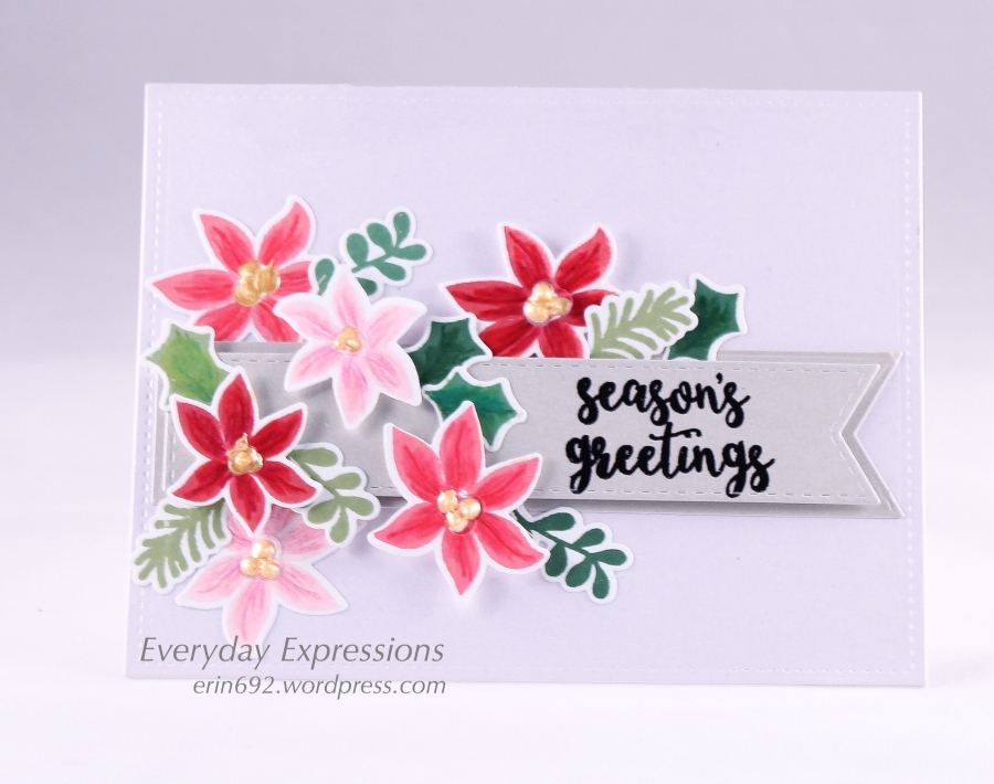 Season's Greetings with Pretty Poinsettias