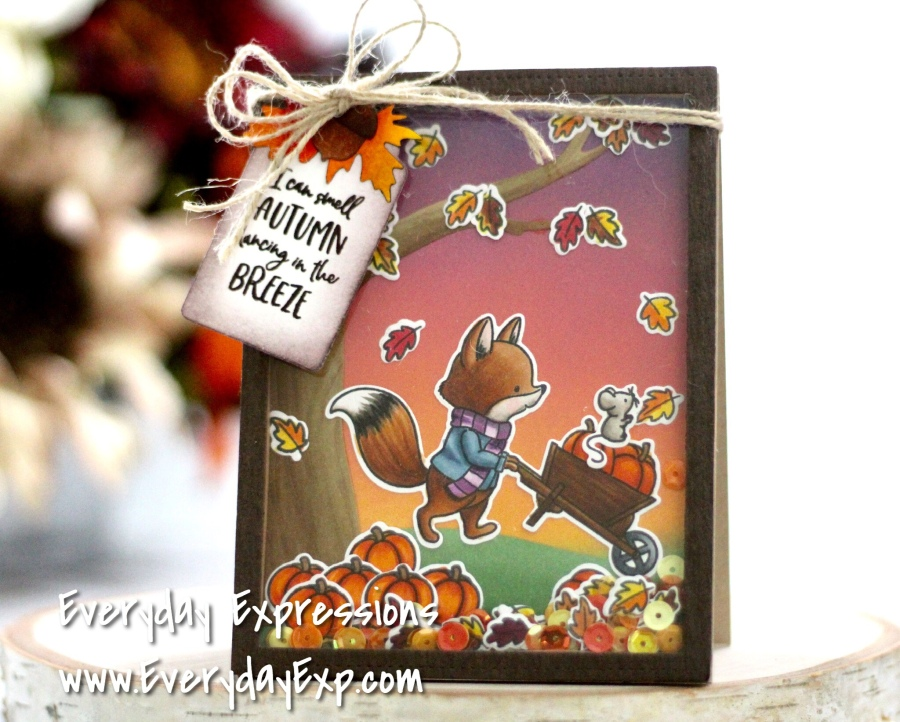 Hello Bluebird Pumpkin Time Shaker Card